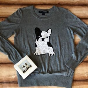 French Connection beaded French Bulldog sweater